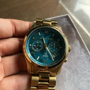 Michael Kors gold and blue watch